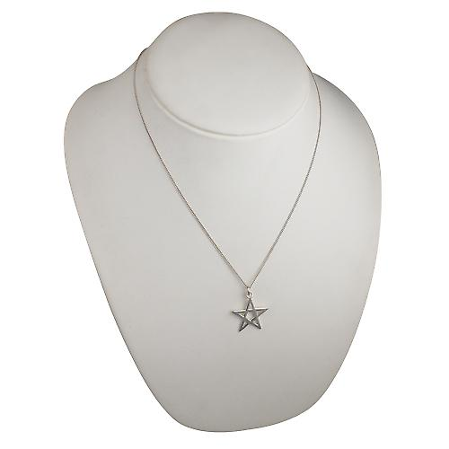 Silver 26mm plain Pentangle Pendant with a curb Chain 20 inches