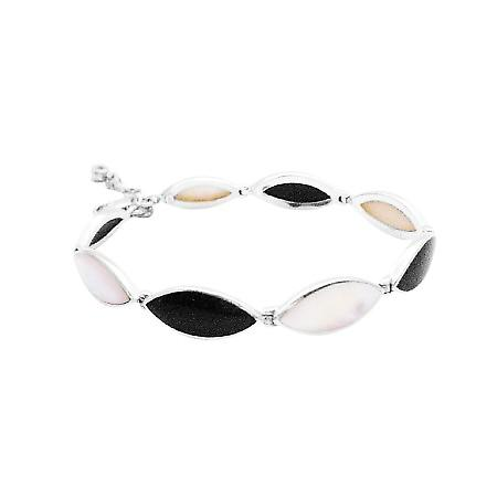 Online Gift Sterling Silver Inlaid Mother of Pearl Onyx Stone Bracelet