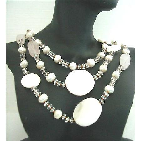Genuine Semi Recious Jewelry Mother Shell Rose Quartz Freshwater pearls Clear Crystal Necklace 60 Inches Long