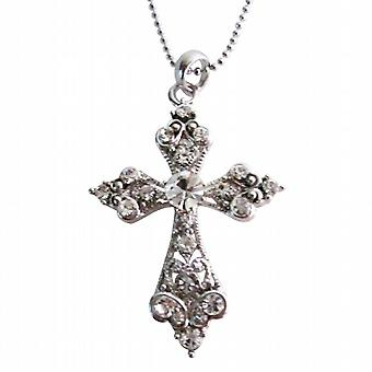 Shimmering Cross Pendant Silver Casting Pendant w/ Silver Chain