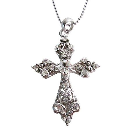 Shimmering Cross Pendant Silver Casting Pendant w/ Silver Chain