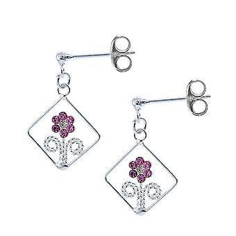 The Olivia Collection Sterling Silver Pink Crystal Flower Drop Earrings