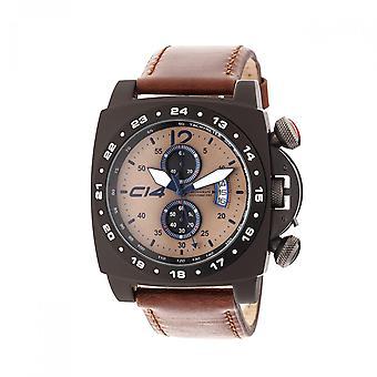 En 1.4 - kol 14-Quartz kronograf - brun läder