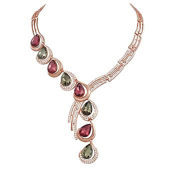 Vivacious Natural Multi Enamel Crystal Rose Gold Tone Statement Necklace Jewelry & Watches