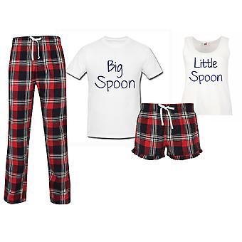Big Spoon Little Spoon Couples Matching Pyjama Tartan Set
