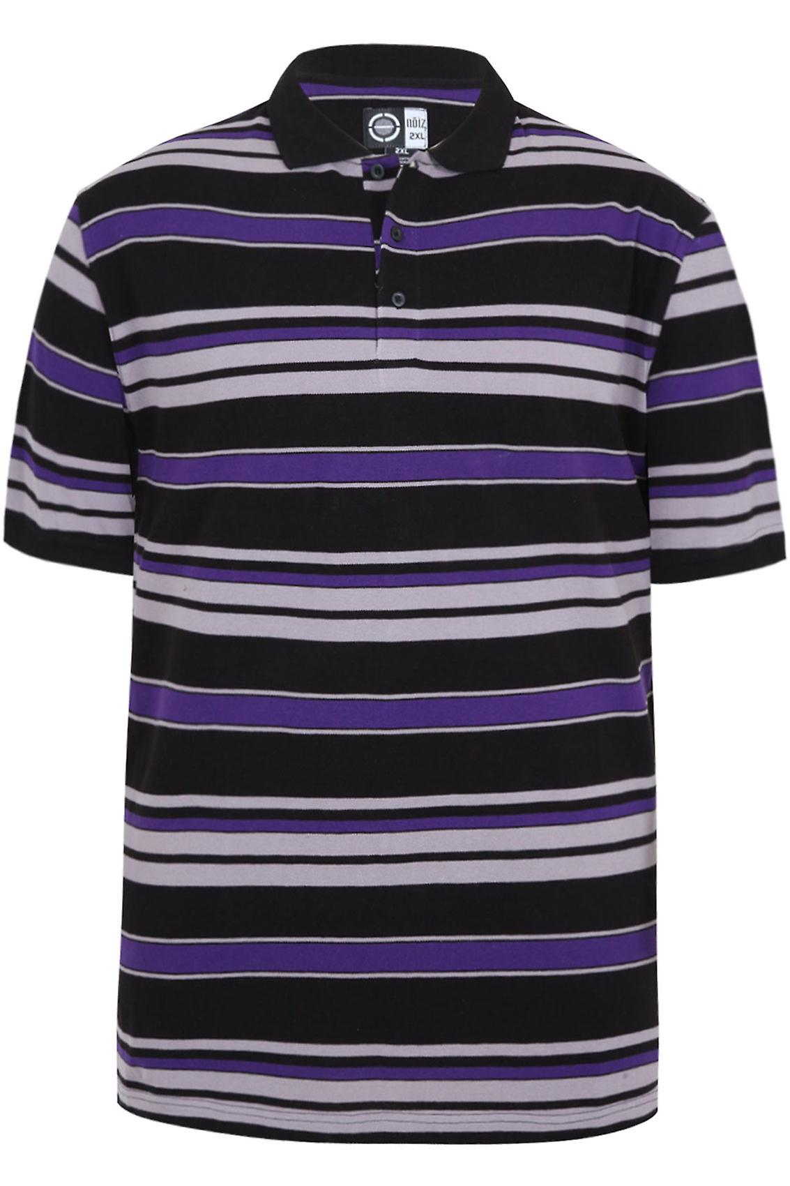Black, Grey & Purple Stripe Short Sleeve Polo Shirt