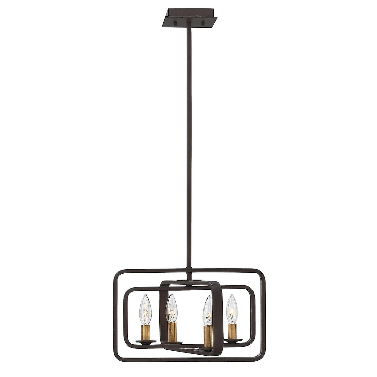 Elstead - 4 Light Pendant Chandelier - Buckeye Bronze Finish - HK QUENTIN 4P A