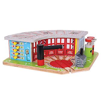 Bigjigs Rail Wooden Five Way Engine Shed Railway Track Expansion Playset