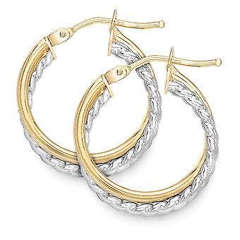 Jewelco London 9ct 2-Colore Oro Crossover Perline Twist Hoop Orecchini
