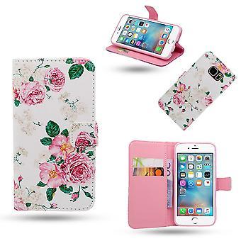 Iphone 6/6s Cas/portefeuille-fleurs en cuir