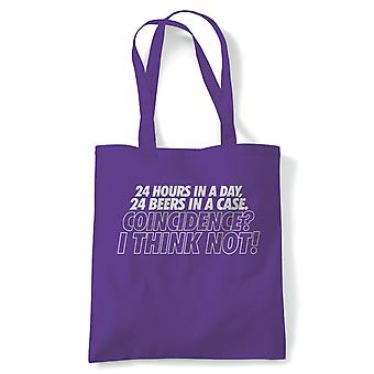24 heures dans une journée Funny Tote (fr) Drink Beer Wine Cheers Célébrer Tipple Snifter (fr) Reusable Shopping Cotton Canvas Long Handled Natural Shopper Eco-Friendly Mode