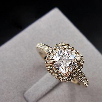 18K Gold Plated Princess Cut Cubic Zirconia Ring