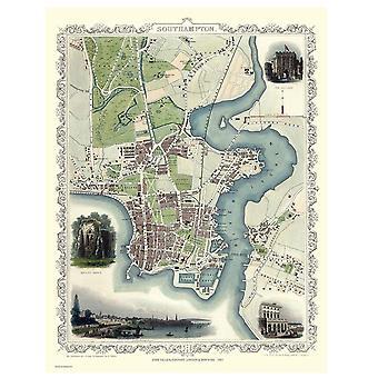 History Portal Southampton 1851 Map John Tallis 1000 Piece Jigsaw 690mm x 480mm (jg)
