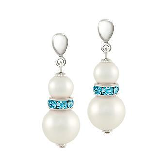 Ewige Sammlung Alpine Aquamarin Kristall Shell Perle Silber Ton Tropfen durchbohrte Ohrringe