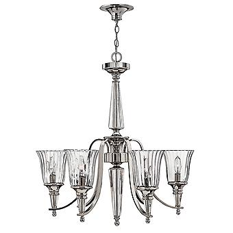 Chandon Modern 6 Arm Chandelier with Clear Optic Glass