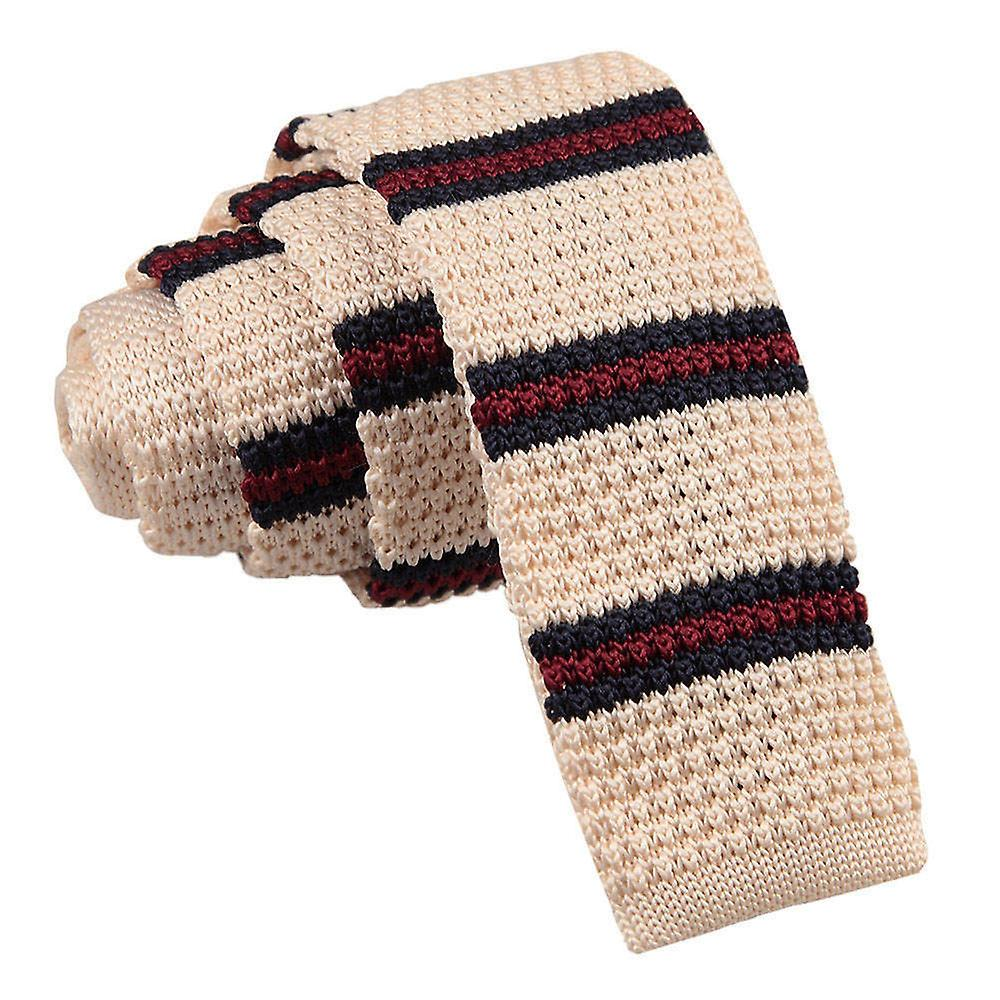Knitted Cream with Burgundy & Navy Thin Stripe Tie