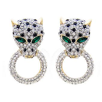 Butler and Wilson Small Crystal Leopard Head on Ring Earrings