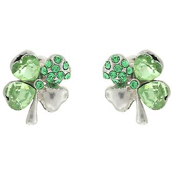 Peridot Green Swarovski Crystal Four Leaf Clover Shamrock Stud Earrings