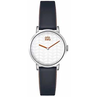 Orla Kiely Womans White Dial Dark Grey Leather Strap OK2049 Watch