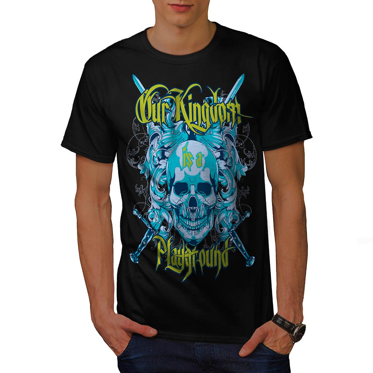 Kingdom Playground Skull Men Black T-shirt | Wellcoda