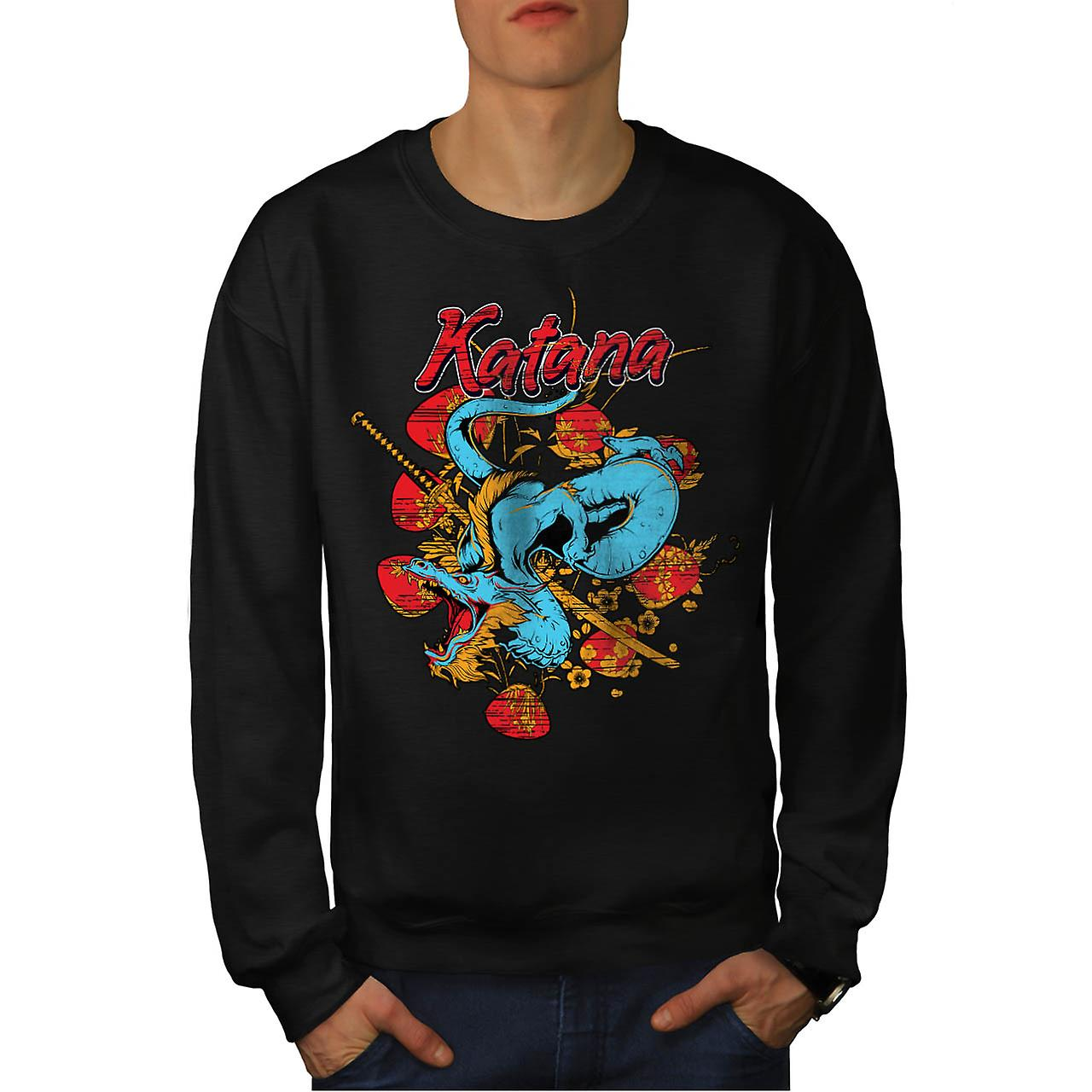 Katana Dragon Slayer Oriental Men Black Sweatshirt | Wellcoda