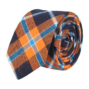Andrews & co. narrow tie Club tie Plaid Orange Navy