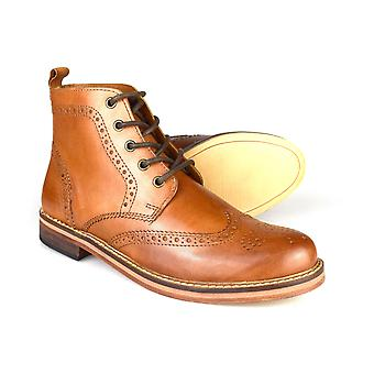 Red Tape Clarendon alle Tan Brown Brogue formale Lederstiefel