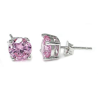 925 Sterling Silver Round Cut Pink Simulated Diamond Earrings