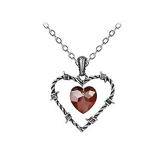 Alchemy Gothic Imprisoned Love Barbed Wire Heart Pendant and Necklace