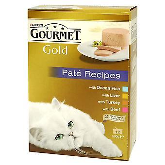 Gourmet guld kan voksne blandede udvalg Pate enkeltnumre 12x85g (pakke med 4)