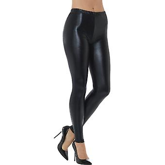 80 'er metallisk disco Leggings sort