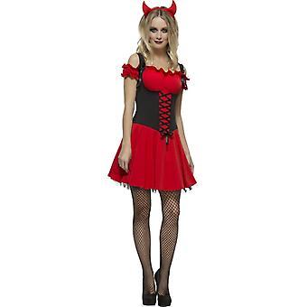 Fever Kollektion Sündhafter Teufel Damenkostüm Rot mit Kleid Unterrock und Hörnern