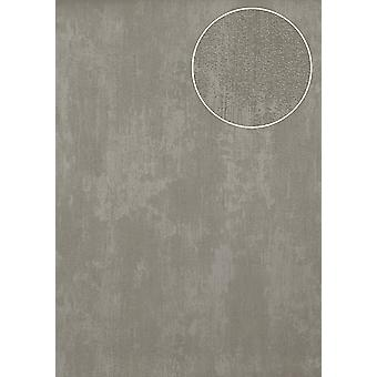Uni wallpaper Atlas TEM-2115-5 non-woven wallpaper structured in trowel finish and metallic effect grey perl bright grey silver dust grey 7,035 m2
