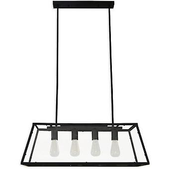 Moycor Rectangular Ceiling lamp Iron / Glass Black 78x30Cm / 60W 220-240V