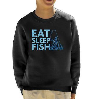 Essen Sie schlafen Fische blau Fischer Kid Sweatshirt