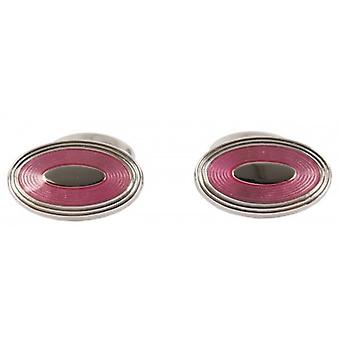 David Aster Oval Enamel Cufflinks - Pink