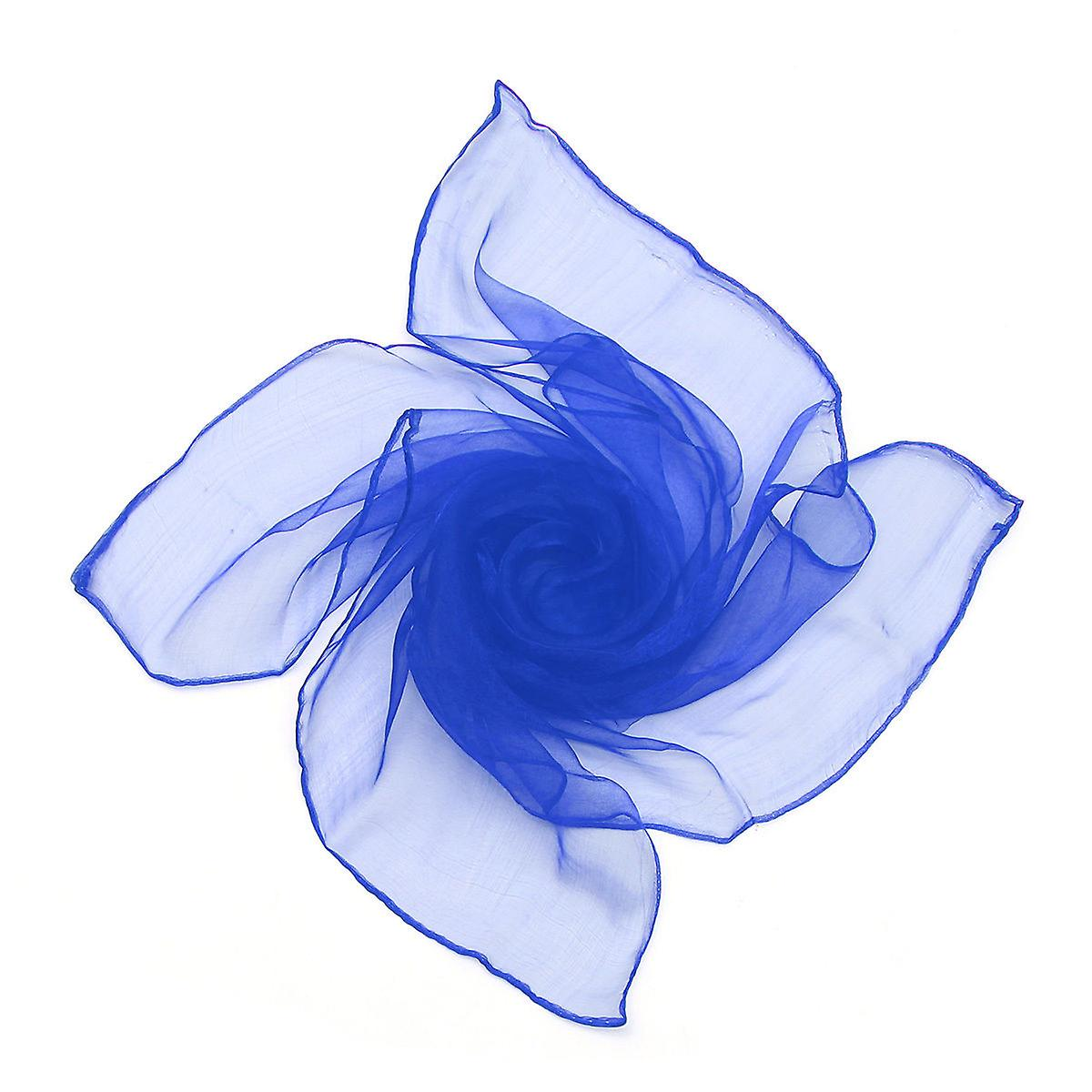 1950's Plain Square Chiffon 50's Neck 4 Seasons Scarf Wrap 65cm x 65cm - Blue