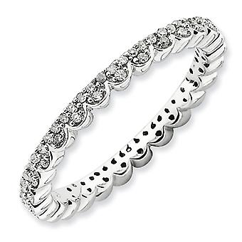 2.25mm Sterling Silver Stackable Expressions Polished Diamond Ring - Ring Size: 5 to 10