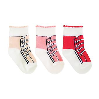 Baby Girls Cotton Rich Trainer Design Socks (Pack Of 3)