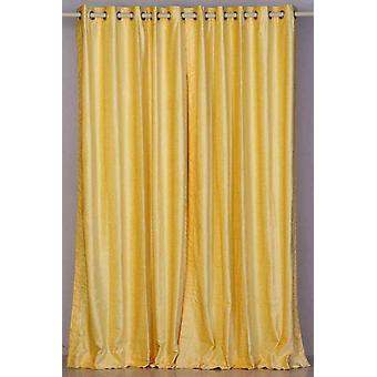 Yellow Ring / Grommet Top  Velvet Curtain / Drape / Panel  - Piece