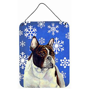 French Bulldog Winter Snowflakes Holiday Wall or Door Hanging Prints