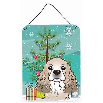 Árbol de Navidad y Cocker Spaniel pared o puerta colgantes grabados