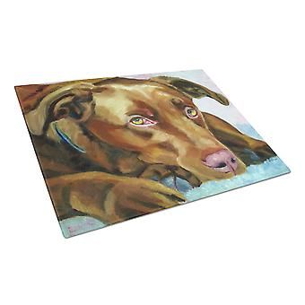 Chocolate Labrador Waiting Glass Cutting Board Large
