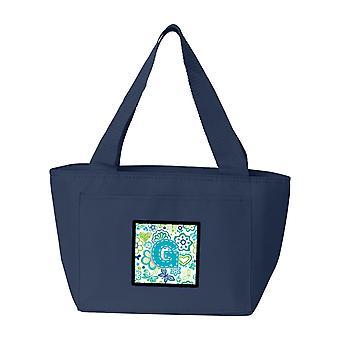 Lettera G fiori e farfalle dell'alzavola blu Lunch Bag