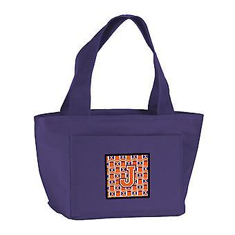 Letter J Football Orange, White and Regalia Lunch Bag