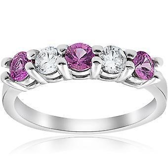 1 1 / 10ct różowy szafir & pierścionek z brylantem 14K białe złoto