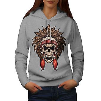 Fashion Indian Art Skull Women GreyHoodie | Wellcoda