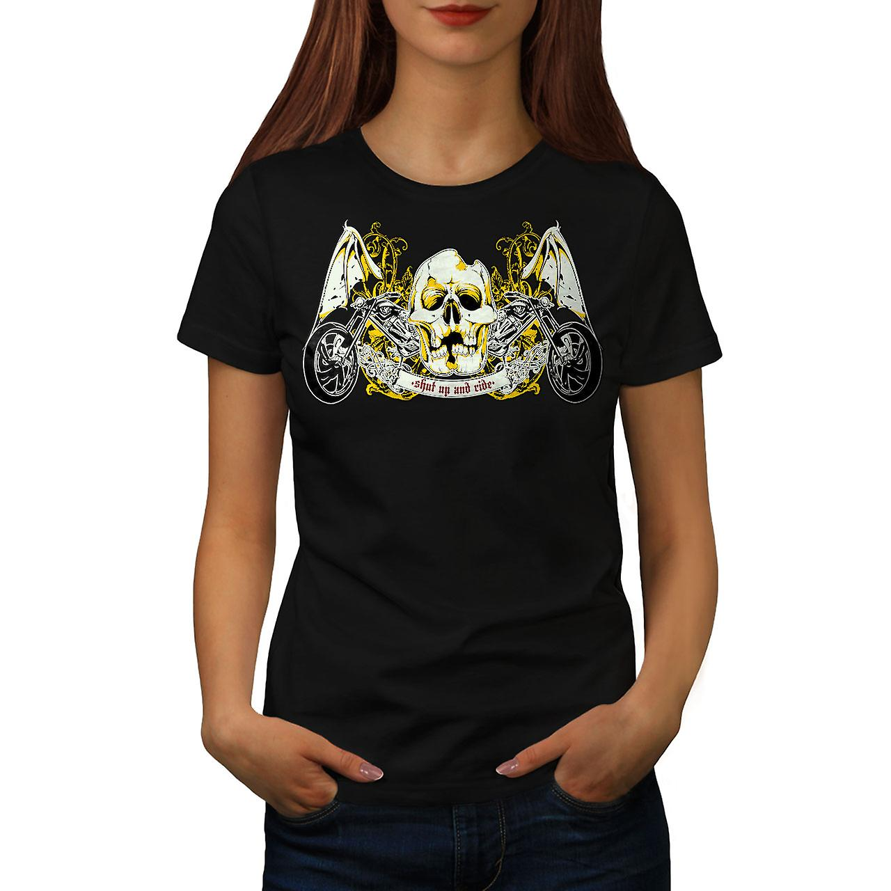 Shut Up Ride Skull Biker Women Black T-shirt | Wellcoda
