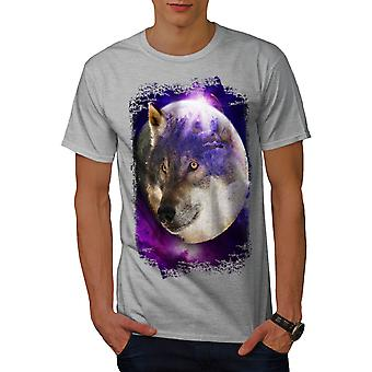 Moon Animal Wolf Men GreyT-shirt | Wellcoda