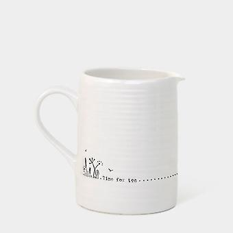 East of India Wobbly Jugs Small and Large Porcelain Various Styles Gift Boxed Keepsake (Small - Time for tea)